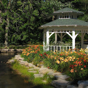Gazebo By Creek by Diane Butler - City,  Street & Park  City Parks ( water, park, creek, flowers, gazebo )