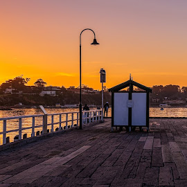 Fishing at Sunset by Keith Walmsley - Buildings & Architecture Bridges & Suspended Structures ( victoria, coast, pier, sunset, australia, anglers, clouds, boats, trees, water, landscape )