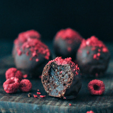 Raspberry Dusted Chocolate Fudge Brownie Truffles