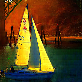 Sails at sunset by Gaylord Mink - Artistic Objects Other Objects ( sails, sunset, boat )