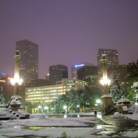 Late Fall in Denver by John Pobursky - City,  Street & Park  City Parks ( cityscapes, colorado, denver, civic_center_park, night_shot )