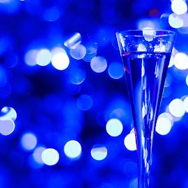 Celebration by Blaž Kastelic - Artistic Objects Other Objects ( champagne, new year, beautiful, christmas, fun, party, pretty, depth, lights, blue, happy, drink, glass, depth of field, celebration, nikon )