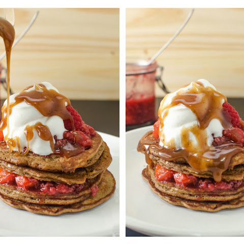 Coffee Pancakes with Rapsberry and Peach Compote