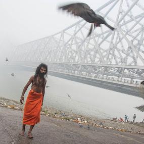 Peaceful morning  by Vishal  Singh - People Street & Candids ( street, ganges, bridge, travel, saint, people, foggy., culture, howrah )