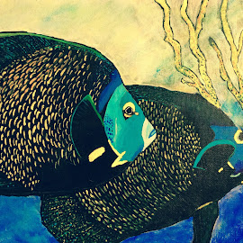 Two by Two by Amber O'Hara - Painting All Painting ( two, blue, fish, acrylic, gold, painting, black )