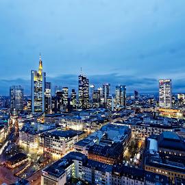 Frankfurt Am Main by Jaideep Abraham - City,  Street & Park  Skylines ( frankfurt, blue hour, travel, cityscape, business )
