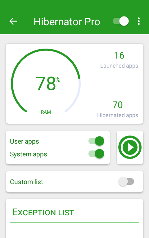 Hibernator : Hibernate running apps & save battery Screenshot