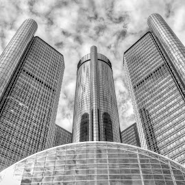 The Towers of D. by Martin Rosenkranz - City,  Street & Park  Skylines ( michigan, america, renaissance center, detroit, usa, united states )