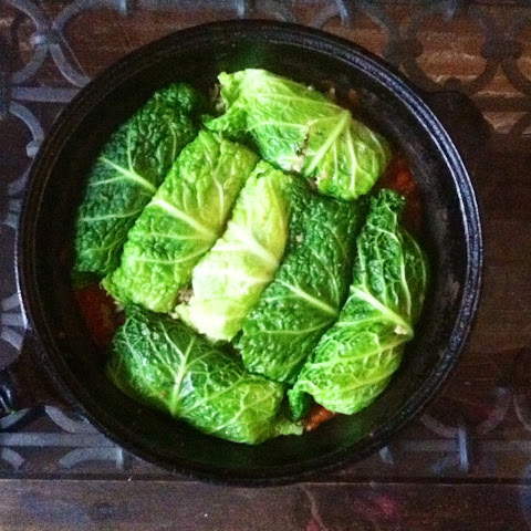 Stuffed Cabbage Rolls With Cauliflower Rice & Tomato Sauce