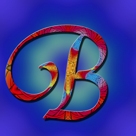 Alphabet -B by Dipali S - Typography Single Letters ( headline, graphic, decorative, illustration, yellow, type, quote, calligraphy, inscription, place, note, classic, typographic, template, icon, element, text, b, creative, decoration, letter, font, art, advertisement, calligraphic, message, sign, frame, red, blue, background, artistic, alphabet, typography, english, design )