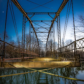 Oklahoma deckless bridge.   by Paul Haines - Buildings & Architecture Bridges & Suspended Structures