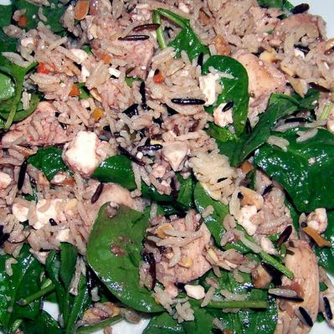 Nutty Wild Rice, Chicken and Spinach Salad