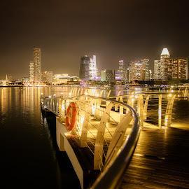 Candle lights by Thomas Ho - City,  Street & Park  Skylines ( riverside, night scene, night lights, city lights, skylines, cityscape, landscape, night shot, city skyline, singapore, river,  )