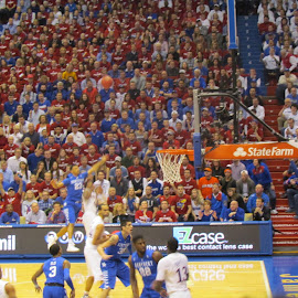 In the air. by Elizabeth O - Sports & Fitness Basketball ( basketball, ball, university of kansas, university of kentucky, kansas )