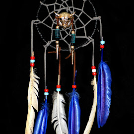 Handcrafted Dreamcatcher by Christy Stanford - Artistic Objects Other Objects ( craft, dreamcatcher, native, blue, indian, feathers )