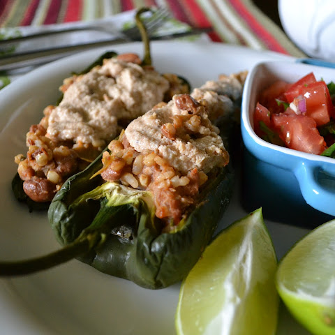 "Poblanos with Rice, ""Refried"" Beans & Cashew Cream"