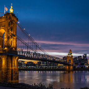 Sunset behind the Bridge by Richard Michael Lingo - Buildings & Architecture Bridges & Suspended Structures ( ohio, sunset, buildings, cincinnati, architecture, bridge, river )