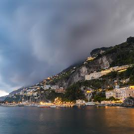 amalfi by Toni Mares - Landscapes Travel ( clouds, amalfi, sunset, amalfi coast, sea, italy )
