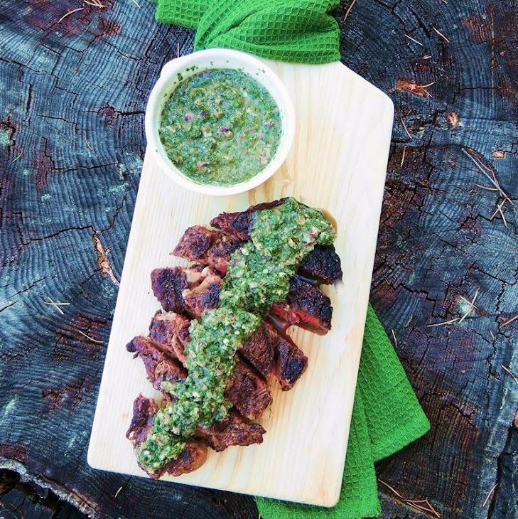 Grilled Ribeye Steaks with Roasted Jalapeno Chimichurri Recipe ...
