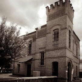 Hemphill County Jail by Jim Oakes - Buildings & Architecture Public & Historical ( black and white, brick, museum, jail, historic, daylight )