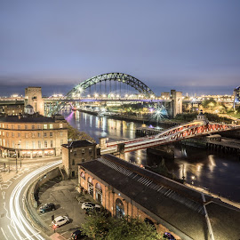 Wide View From The High Level by Adam Lang - City,  Street & Park  Night ( slow exposure, quayside, city lights, night, newcastle, bridges, river )