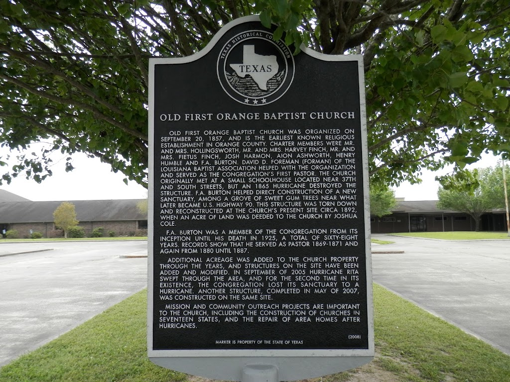 Old First Orange Baptist Church was organized on September 20, 1857, and is the earliest known religious establishment in Orange County. Charter members were Mr. and Mrs. Hollingsworth, Mr. and Mrs. ...