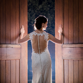 Doors by Lood Goosen (LWG Photo) - Wedding Bride ( doors, bride, wedding dress, wedding photographer, wedding photography, wedding day, wedding photographers, wedding, nightshoot )