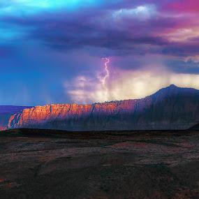 Utah Lightning Storm by Clement Stevens - Landscapes Cloud Formations ( lightning, storm, cliff, clouds )