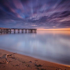 good morning Mr. Sun   by Edward Kreis - Landscapes Sunsets & Sunrises ( clouds, water, 2017, waterscape, horizon, chilly, chesapeake bay, neutral density, beach, sun flare, landscape, new year's day, first light, pasadena, dawn, first sunrise, outdoors, maryland, pier, long exposure, down's park, sunrise )