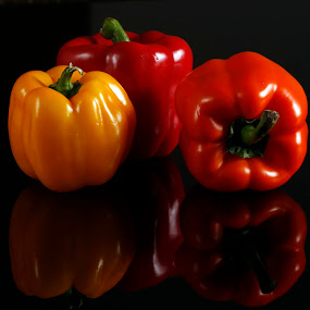 3 Peppers by Cristobal Garciaferro Rubio - Food & Drink Fruits & Vegetables ( peppers, reflection, bright, colours )
