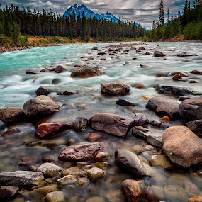 River view to Mount Geraldine by Drew May - Landscapes Mountains & Hills ( water, canon, clouds, 5d mkiii, alberta, canada, athabasca pass, landscape images, national park, sky, drewmayphoto, 24mm t/s-e, locations, trees, jasper, rocks, mt. geraldine, moab lake, river )