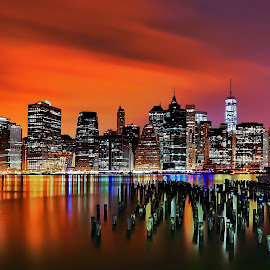 The Sticks & Manhattan by Mike Lennett - City,  Street & Park  Skylines ( reflection, skyline, color, long exposure, vibrant, mike lennett, new york,  )