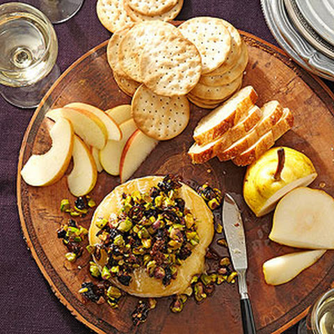 Warm Brie with Fig and Pistachio Tapenade