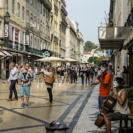busy street in lisbon  by Frank Barnitz - City,  Street & Park  Street Scenes ( busy, lisbon, city )