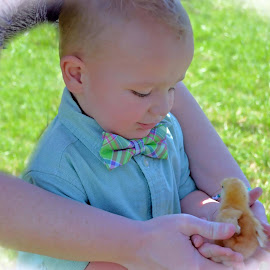 Andrew Snyder and Mom learning how to hold a baby chicken Easter 2016 by Sheila Arthur - Babies & Children Child Portraits