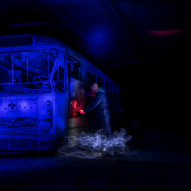 The Bus by Laurent Jacquemyns - Abstract Light Painting ( light painting, bus, blue, repair, light, mood factory, color, lighting, moods, colorful, bulbs, mood-lites )