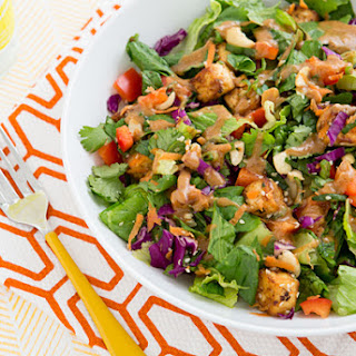 Chopped Power Salad with Baked Tofu and Almond-Miso Dressing