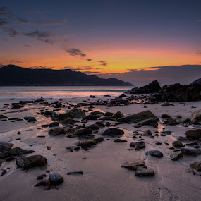 Sunrises on 1 Jan 2013 by Anthony Lau - Landscapes Beaches ( shore, water, sand, hong kong, reflection, sea, stone, rock, beach, 1 jan 2013, sky, cloud, sunrise,  )