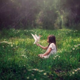 Meadow Meeting by Chrystal Olivero - Babies & Children Child Portraits ( child, girl, green, hummingbird, white, meadow, portrait, manipulation )