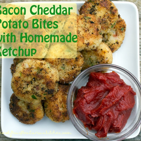 Bacon Cheddar Potato Cakes With Homemade Ketchup
