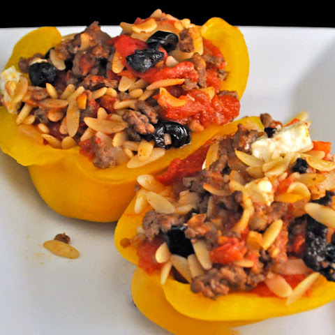 Stuffed Yellow Peppers, with Beef and Orzo