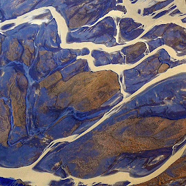 Course of a river from the air by Bernhard Bußmann - Landscapes Travel ( aerial photograph, iceland, course of a river )