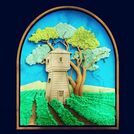 Building in a Garden by Charlie Alolkoy - Illustration Buildings ( hill, watercolor, building, tree, garden )