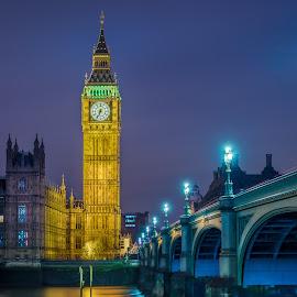 London by Hans Van Kerckhoven - City,  Street & Park  Night ( london city nightscape cityscape skyline water thames river bridge tower )