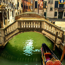 Venice Canal by T Sco - City,  Street & Park  Historic Districts ( neighborthod, path, venice, city, street, buildings, waterway, walkway, canal, bridge, boat, italy )