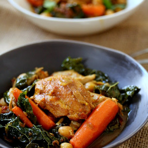 Moroccan Chicken Tagine with Carrots, Chickpeas, and Kale