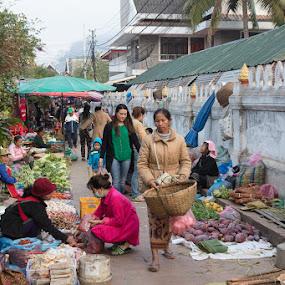 Laos Market by VAM Photography - City,  Street & Park  Markets & Shops ( laos, market, farmers market, woman, travel,  )