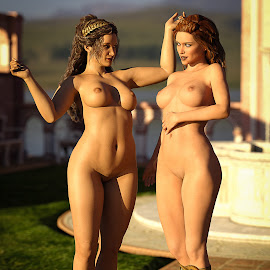 Conversation by James Baker - Illustration Sci Fi & Fantasy ( femal, fantasy, studio, ancient, nude, greek, 3d, daz, roman, women )