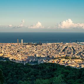 Barcelona from Collserola by Joan Vega - City,  Street & Park  Skylines ( collserola, outdoor, sea, day, barcelona )