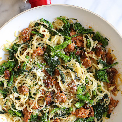 Broccoli Rabe and Sausage Parsnip Spiralized Pasta